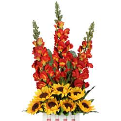 Charming Basket Arrangement of Elegant Long Floral Stems N Chic Art Sunflowers