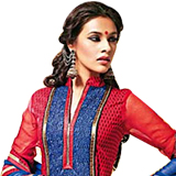 Amazing Red and Blue Cotton Printed Unstitched Salwar Suit