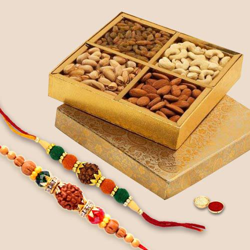Empyrean Rudraksh Rakhi Set with Dry Fruits