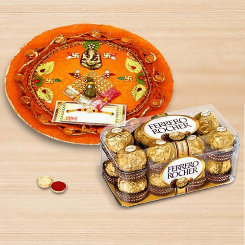 Enthralling Combo of Rakhi with Rakhi Thali N Ferrero Rocher Chocolate
