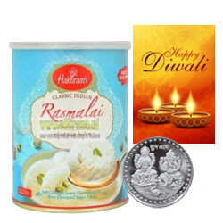 Luscious Rasmalai With Silver Plated Coin And Diwali Card