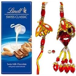 Ultimate Bhaiya N Bhaibhi Rakhi With Lindt Swiss Chocolate