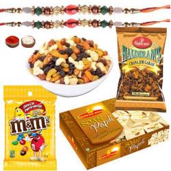 Fascinating Token of Sweet N Salty Assortments with Rakhi