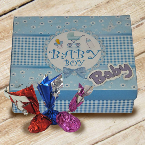 Delightful Baby Boy Homemade Chocolate Box with Essence of Indulgence