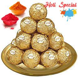 Daintily Arranged Ferrero Rocher Chocolates in a Golden Plated Thali