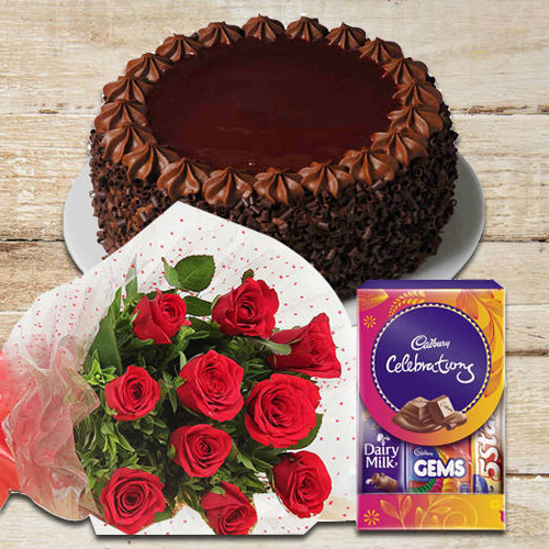 Deliver Online Red Roses with Cake N Cadbury Pack