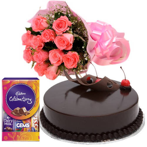 Send Pink Roses Bouquet, Cake N Cadbury Pack Online