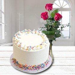 Creamy Soothe 2.2 lb Vanilla Cake with 3 Red Roses