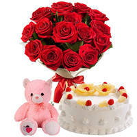 Breathtaking Combo of Red Color Roses Bouquet with Pineapple Cake & Small Teddy