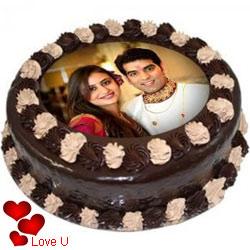Velvety Valentine Gift of Chocolate Photo Cake
