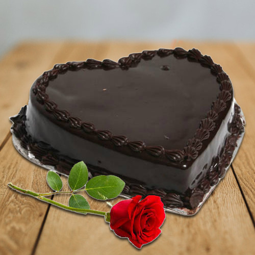 Order Online Heart-Shape Chocolate Cake with Single Rose