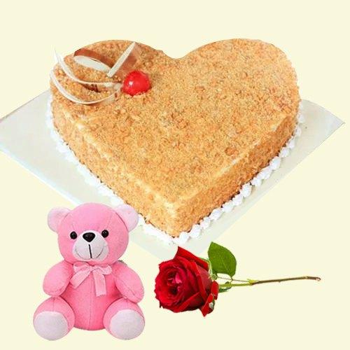 Shop Online Heart-Shape Butter Scotch Cake with Single Rose