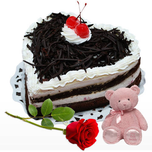 Deliver Heart Shape Black Forest Cake with Single Rose N Teddy