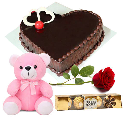 Deliver Chocolate Cake in Heart-Shape with Teddy, Ferrero Rocher N Single Rose Online