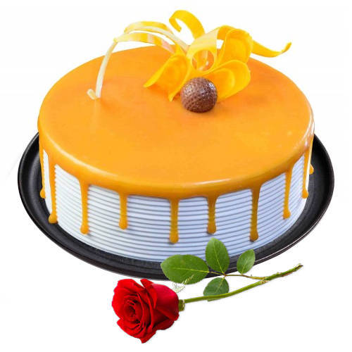 Shop Eggless Butter Scotch Cake with Single Rose