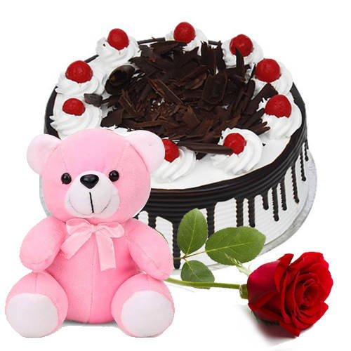 Book Online Eggless Black Forest Cake with Teddy & Single Rose