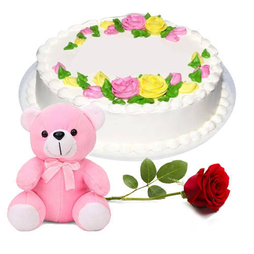 Send Eggless Vanilla Cake with Single Rose N Teddy