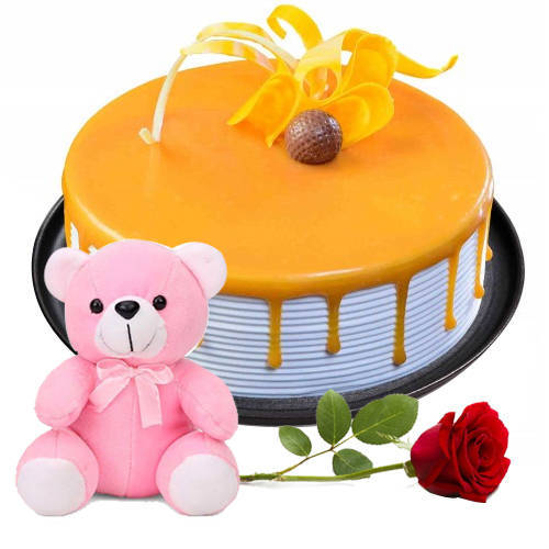 Deliver Eggless Butter Scotch Cake with Teddy N Red Rose Online