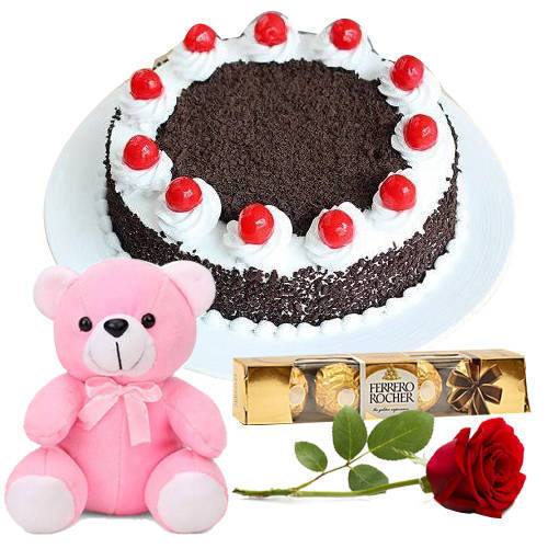 Online Eggless Black Forest Cake with Teddy, Red Rose N Ferrero Rocher