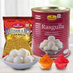 Haldiram Rasgulla with Bhujia from Haldiram