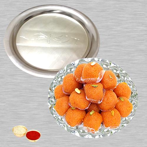 Haldiram Ladoo N Silver Thali with Roli Tilak and Chawal