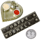 Homemade Assorted Chocolates in Thali with free silver plated coin.