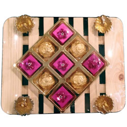Exclusive Combo of Diya Candles along with Home-made Chocolate Assortments