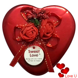 Assorted Crunchy Handmade Chocolates in a Heart Shape Red Box