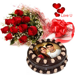 Exquisite Combo of Chocolate Photo Cake N Red Roses for Chocolate Day