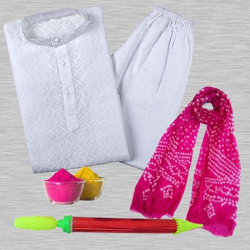 Delightful Holi Fun with Kurta Pajama Set  N  Traditional Chunri Dupatta