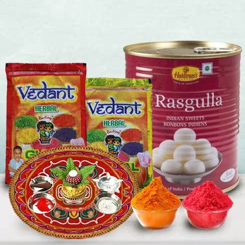 Sweet Enjoyment pack of Haldiram Rasgulla, Herbal Gulal N Puja Thali