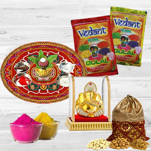 Cheerful Holi Combo of Puja Thali with Ganesh Mandap, Herbal Gulal N Dry Fruit Potli