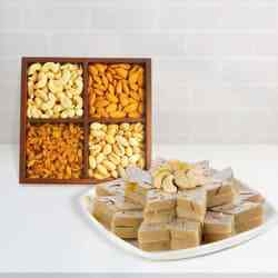 Assorted Dry fruits with Haldiram Kaju Katli