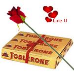Toblerone Swiss make (200 gms) with One Velvet Red Rose