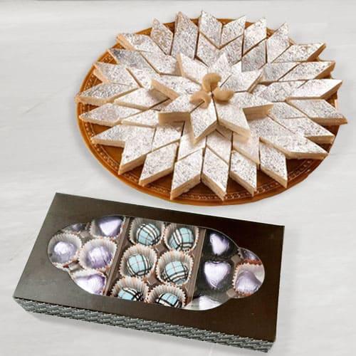 Yummmy Homemeade Chocolates with Haldirams Kaju Katli