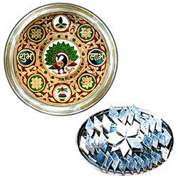 Designer Meenakari styled Subh Labh Stainless Steel Thali with Haldiram Kaju Katli