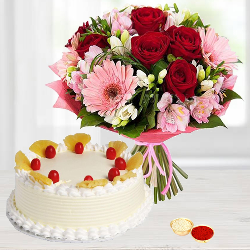 Eggless Cake and Mixed Flowers Bouquet