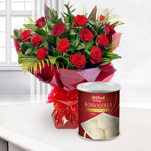 Online Combo of Red Roses and Haldiram Rasgulla