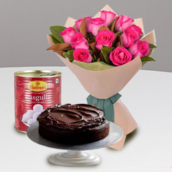 12 Red Roses and Haldiram Rasgulla with Eggless Cake 1 Kg.
