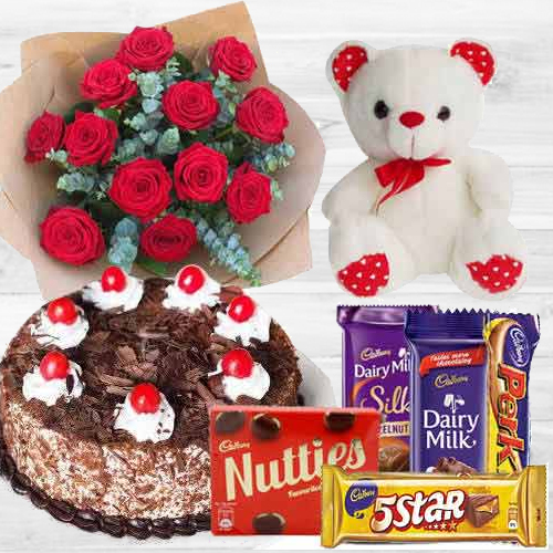 Awesome Bouquet of Red Roses with Cake, Mixed Cadburys Chocolates and a Teddy Bear