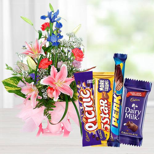 Book Combo of Flowers Bouquet N Mixed Cadbury Chocolates Online