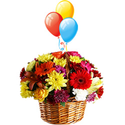Buy Floral Basket with Balloons Online