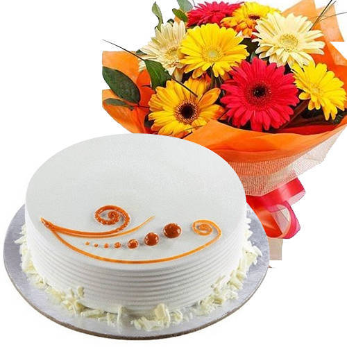 Send Combo Gift of Mixed Flowers and Vanilla Cake Online