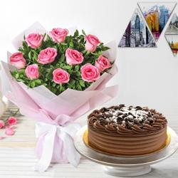 Tempting 10 Pink Roses and 1/2 Kg Eggless Chocolate Cake