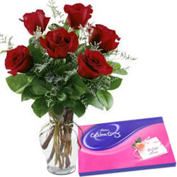 Book Online Red Roses in Vase with Cadbury Celebration Chocolates