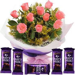 Gift Online Pink Roses Bouquet with Dairy Milk Chocolates
