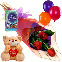 Fresh Cut Red Rose Bouquet With Cadbury Mini Pack Teddy N Balloons
