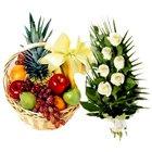 Timeless Fruits Basket N Roses Bunch