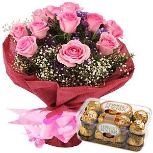 Order Online Pink Roses Bouquet with Ferrero Rocher