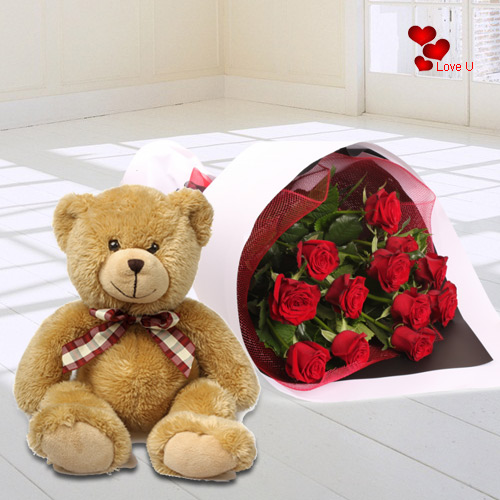 Send Teddy Day Surprise of Teddy with Red Roses